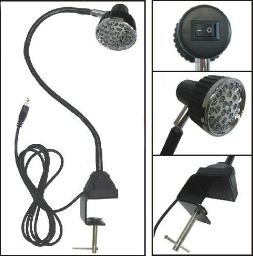 LED Task Sewing Light Gooseneck Lamp Bendable Steel 22, C-clamp Table Mounted, 110v + 28 LED Light