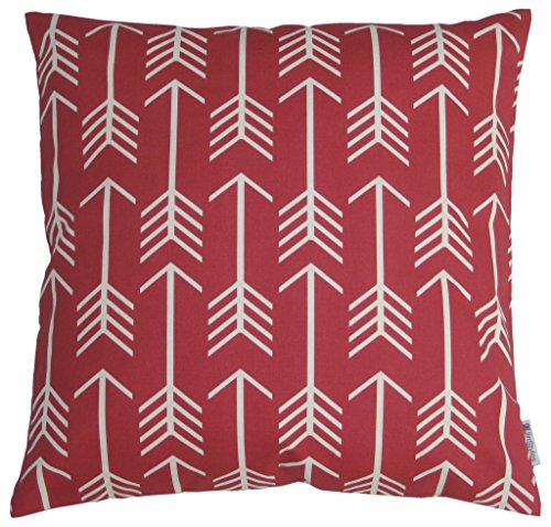 JinStyles Cotton Canvas Arrow Accent Decorative Throw Pillow Cover (Christmas Red, White, Square, 1 Cushion Sham for 18 x 18 Inserts)