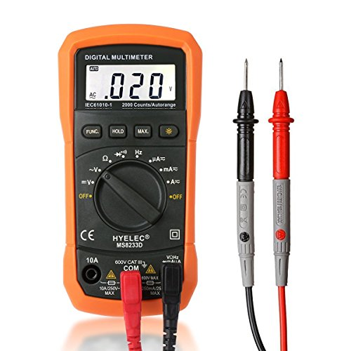 Digital Multimeter, Crenova MS8233D Auto-Ranging Digital Multimeters Electronic Measuring Instrument AC Voltage Detector Portable Amp / Ohm / Volt Test Meter Multi Tester w/ Diode and Continuity Test Scanners Home Use Electronic DIY Hand Tools with Backlight LCD Display, Orange