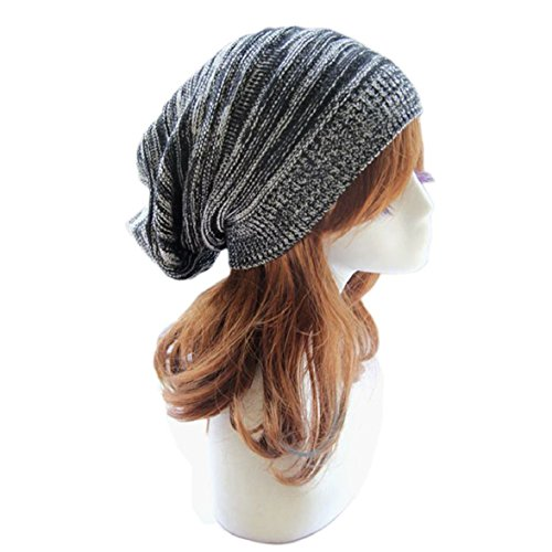 Sandistore hot sale Unisex Knit Baggy Beanie Beret Winter Warm Oversized Ski Cap Hat (Black)