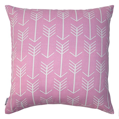 JinStyles Cotton Canvas Arrow Accent Decorative Throw Pillow Cover (Pink, White, Square, 1 Cushion Sham for 22 x 22 Inserts)