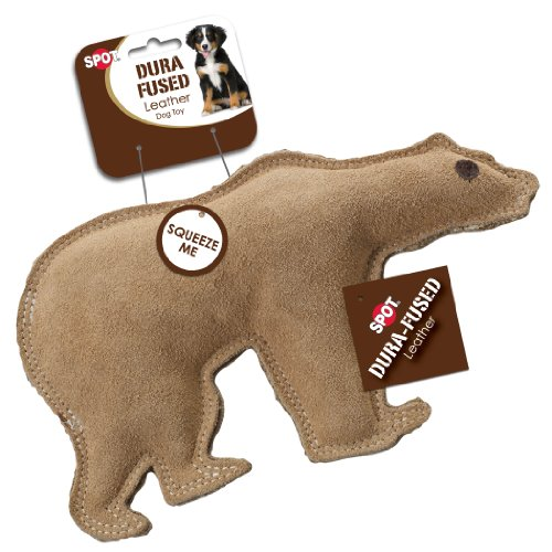 Ethical Pet Dura-Fused 7-Inch Leather Dog Toy, Large, Bear