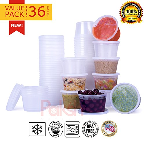 Paksh Novelty Plastic Containers for Lunch / Small Food Containers with Lids, Leak Proof, Microwavable, Freezer & Dishwasher Safe, 16 Ounce, 36 Pack