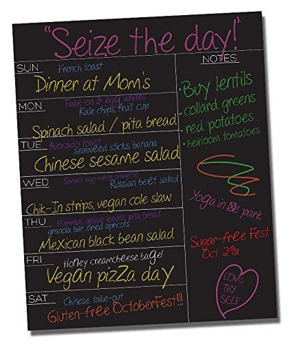 Black Fluorescent Weekly Meal Planner ? Dry Erase Vinyl Decal Wall Sticker ? Daily To Do Menu Message Board Planning & Organization ? Compatible with Wet & Liquid Chalk Markers ? 15.5 x 12.5 Inches