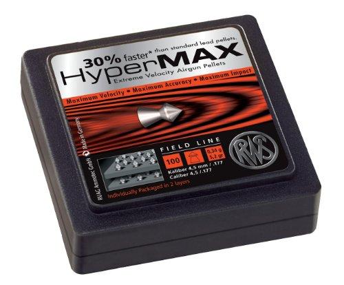 Umarex RWS HyperMax 2315052 100 Rounds Air Gun Pellets, 0.177 Caliber, Silver