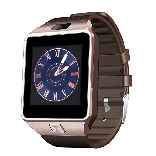 Airsspu Tm Bluetooth Smart Watch Wrist Watch Phone Touch Screen Mate for Samsung Galaxy Iphone Smartphones (Gold)