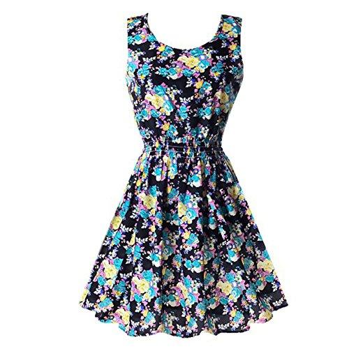PanDaDa Women's Summer Sleeveless Sundress Beach Floral Tank Mini Dress Blac