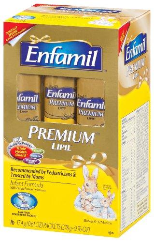 Enfamil Premium Lipil Single Serve Powder Packets 17.4 g Sticks, 16-Count Boxes (Pack of 2)