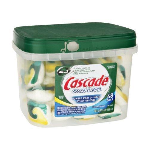 Cascade Complete All in 1 Lemon Burst Scent Dishwasher Detergent - 48 PK