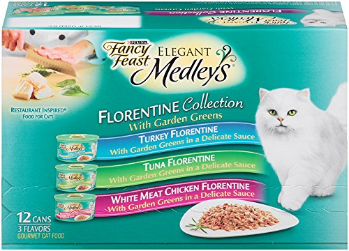 Fancy Feast Wet Cat Food, Elegant Medleys, Florentine Collection, 3-Ounce Can, Pack of 12