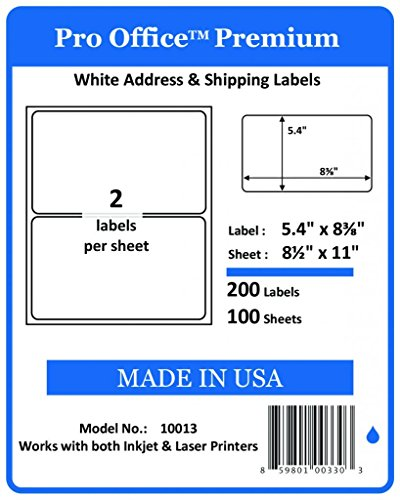 Pro Office Premium 200 Round Corner Blank Half Page Self Adhesive Shipping Labels for Laser Printers & Ink Jet Printers Made In USA White 5.5 X 8.5 200 Pack