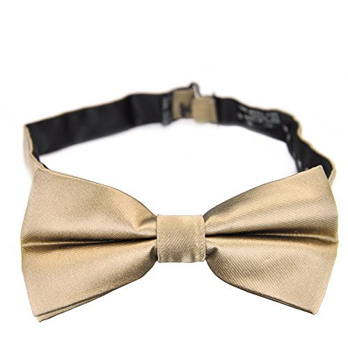 PenSee 100% Silk Mens Pre-tied Bow Tie Solid Gold Bow Ties