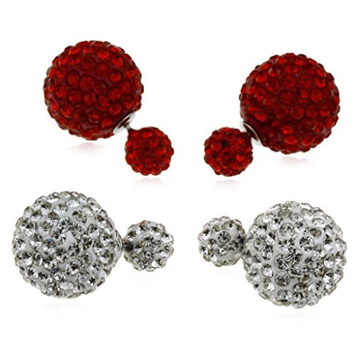 Crystal Round Shape Full Crystal Inlay Red and Clear Double Sided Earrings