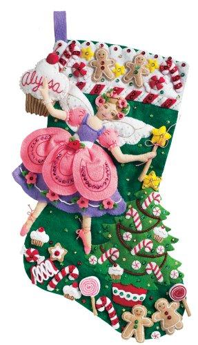 Bucilla 85431 18-Inch Christmas Stocking Felt Applique Kit, Sugar Plum Fairy