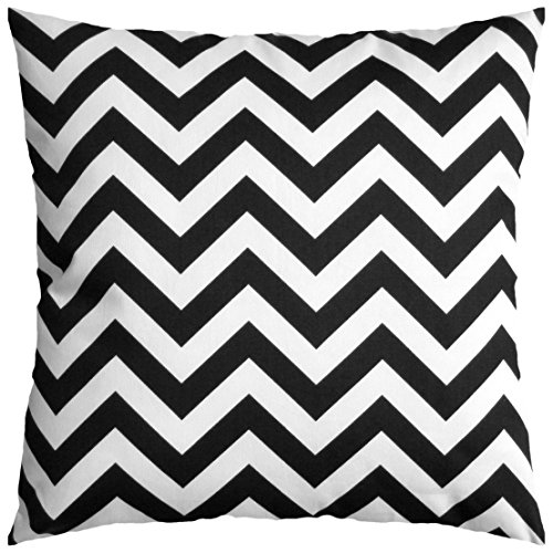 JinStyles® Cotton Canvas Chevron Striped Accent Decorative Throw Pillow Cover (Black & White, Square, 1 Cushion Sham for 18 x 18 Inserts)