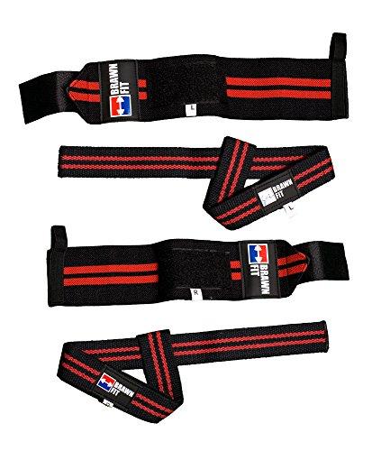 Premium Wrist Wraps (1 Pair) + Lifting Wrist Straps (1 Pair) Bundle Premium Heavy Duty Weightlifting Bodybuilding with Pouch Brawn Fit