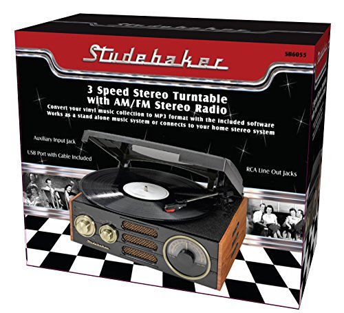Jaras Limited Edtion Studebaker Vintage Classic Wooden Cabinet Speed Stereo Turntable AM/FM Radio + USB Port Converting Vinyl Records to Digitat Built in Stereo Speaker System with Headphone Jack