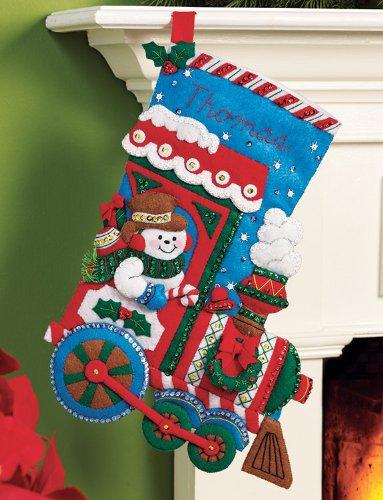 Bucilla Felt Applique Christmas Stocking Kit: All Aboard