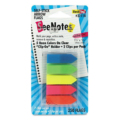 Redi-Tag 32118 SeeNotes Transparent Film Arrow Flags, Asstd Colors, 5 Pads of 50 Flags/Pack