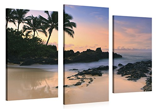 Stretched Canvas Print - HAWAII BEACH SUNSET Large Wall Art e6915 Size: 52W x 36H