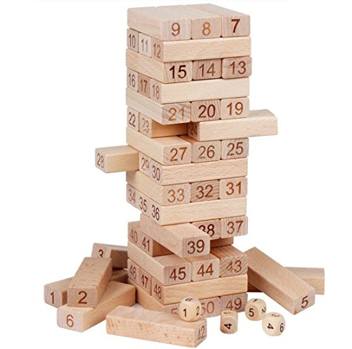 Lewo Blocks Game Tumbling Tower Numbers Toys 54-Pieces Wooden Building Set