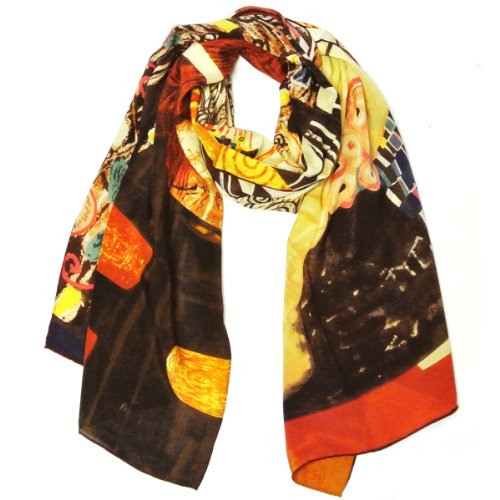 Wrapables Luxurious 100% Charmeuse Silk Long Scarf with Hand Rolled Edges, Gustav Klimt's Judith II
