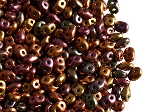 20gr Czech Two Hole Seed Beads SuperDuo 2,5x5 mm Metallic MIX