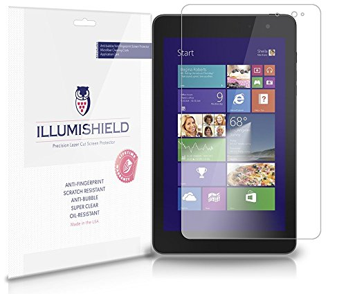 iLLumiShield - Dell Venue 8 Pro Crystal Clear Screen Protectors with Anti-Bubble/Anti-Fingerprint - 2-Pack + Lifetime Replacements