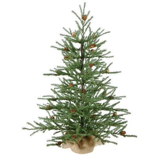 Vickerman 36 Carmel Pine Artificial Christmas Tree with Cones and Burlap Base