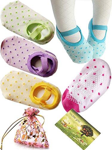 BS? 5 Pairs 8-36 Months Baby Girl Toddler Anti Slip Skid foot Socks + Gift bag + Gift Card, Stripes No-Show Crew Boat Socks Footsocks sneakers, 9-15cm