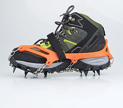 Vdealen 2 PCS 12 Teeth Claws Crampons Non-slip Shoes Cover With Stainless Steel Chain Outdoor Ski Ice Snow Hiking Climbing Dig Into Variety Types Of Terrain Ice, Packed Snow, Wet Rocks, Concrete, and Scree