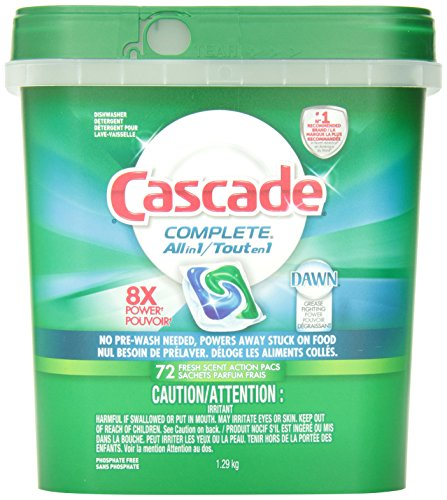 Cascade Complete All-in-1 ActionPacs Dishwasher Detergent, Fresh Scent, 72 Count- Packaging May Vary