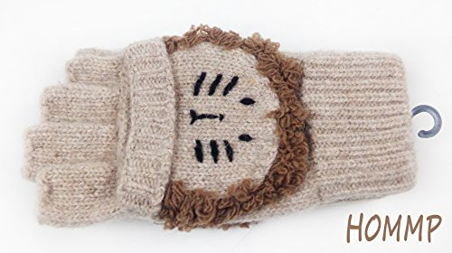 HOMMP Girls' Wool Fingerless Gloves Knit Gloves and Mittens (lion)