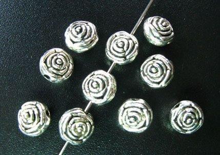 40pcs Tibetan Silver Metal Rose Spacer Beads A1473