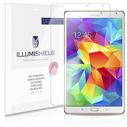 iLLumiShield - Samsung Galaxy Tab S 8.4 Screen Protector Ultra Clear HD Film with Anti-Bubble and Anti-Fingerprint - High Quality Invisible LCD Shield - Lifetime Replacement - [2-Pack] SM-T700