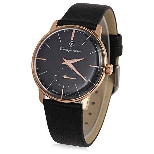 GearBest Ultrathin Beer Cap Dial Men's Mechanical Watch Water Resistance Leather Luminous Wristwatch