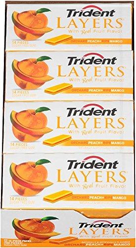 Trident Layers Sugar Free Gum (Orchard Peach & Ripe Mango, 14-Piece, 12-Pack)