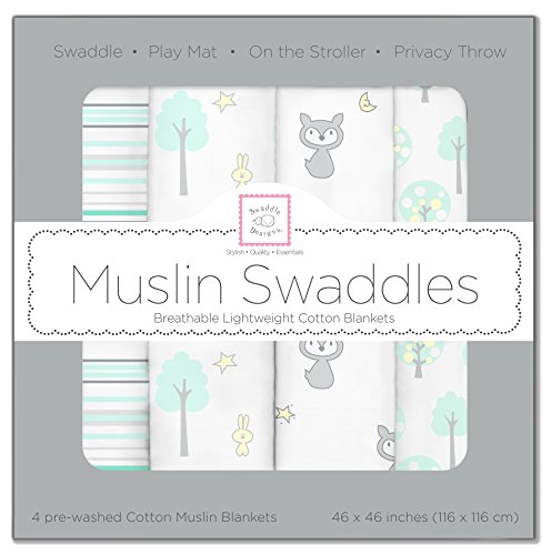 SwaddleDesigns Set of 4 Muslin Swaddle Blankets, Green Woodland