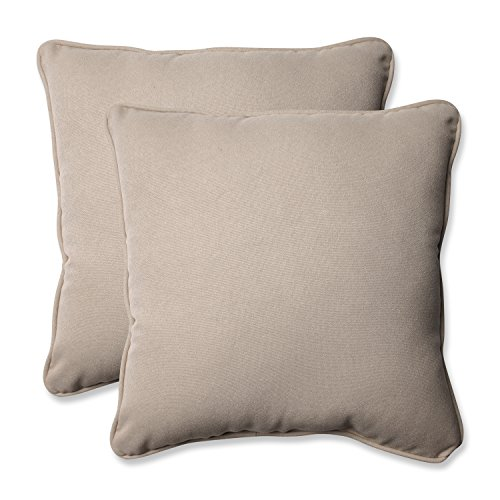Pillow Perfect Decorative Beige Solid Toss Pillows, Square, 2-Pack
