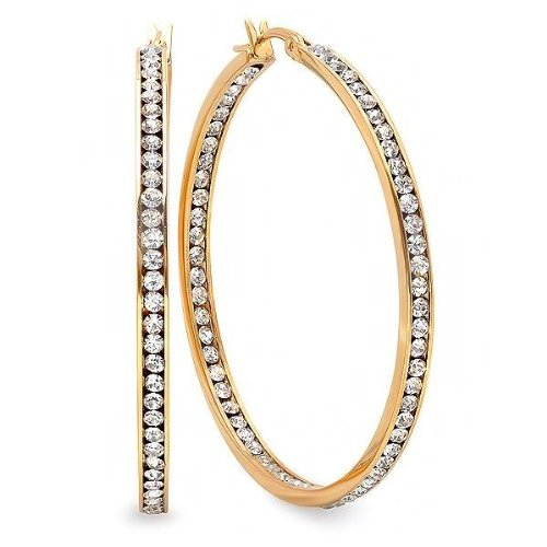 2 Inch Stainless Steel Gold Plated High Shine Inside-Out Hoop Earrings With CZ