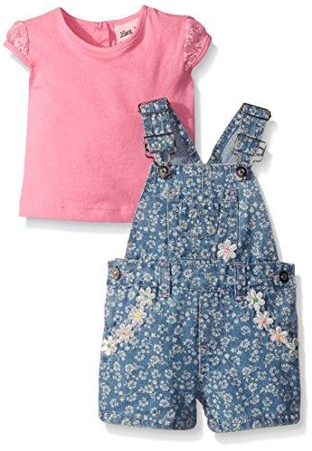 Little Lass Baby Girls' 2 Piece Shortall Set Discharge Print,Pink,24 Months