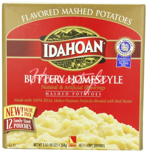 Idahoan Mashed Potatoes, Buttery Homestyle, 4-Ounce Package (Pack of 12)