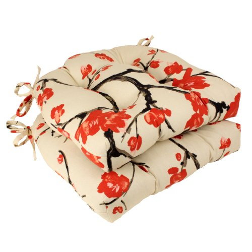 Pillow Perfect Flowering Branch Reversible Chair Pad, Beige/Red, Set of 2