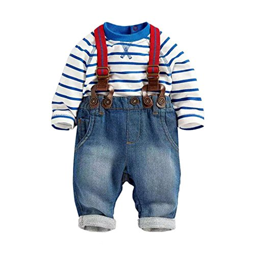 Baby Boys Jeans Bib Pants Striped T-shirt Top Overall