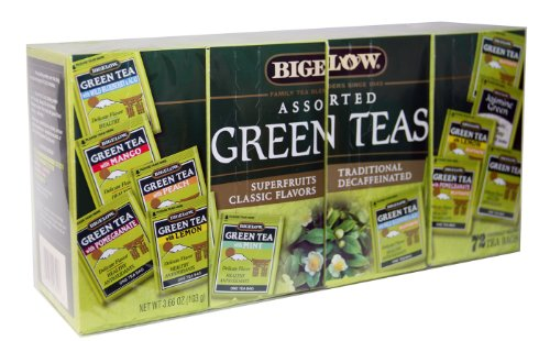 Bigelow Assorted Green Teas - Pack of 72 Tea Bags - Superfruits, Classic Flavors, Decaffeinated, Traditional