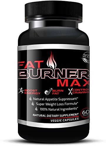 Fat Burner Max - Natural Appetite Suppressant & Fat Burning Diet Pills For Men & Women - Weight Loss Supplements That Work With Garcinia Cambogia, Glucomannan & Caralluma (60 Veggie Capsules)
