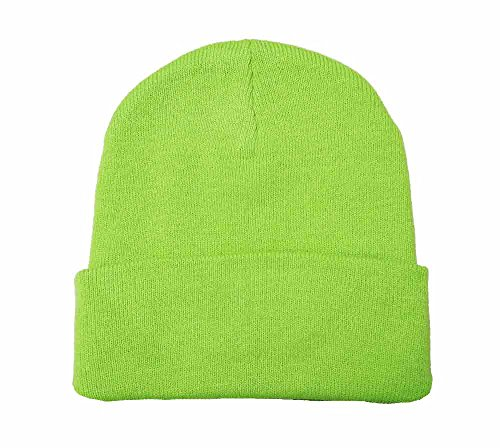 12 Knit Beanie (Comes in 8 Colors) (Lime Green)
