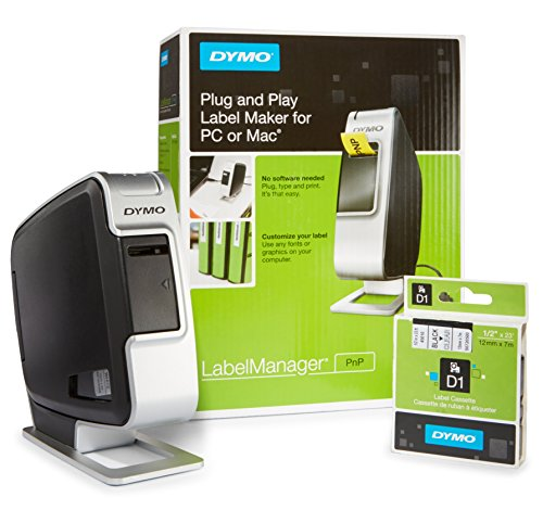 DYMO LabelManager Plug N Play Label Maker with Bonus D1 Black on Clear Labels, 1/2-In. x 23-Ft. Roll
