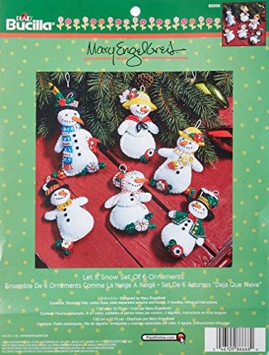 Bucilla Felt Applique Ornament Kit, 3 by 5-Inch, 86668 Mary Engelbreit Let it Snow (Set of 6)