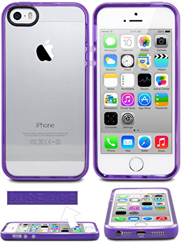 iPhone 5 Case, iPhone 5S Case, Case Ace® Silicone Slim Protective iPhone 5 5S Case Cover for Apple iPhone 5/5S (Purple)